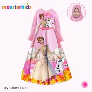 GAMIS 3-IN-1 SET BELT DAN HIJAB FROZEN PINK