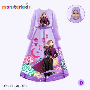GAMIS 3-IN-1 SET BELT DAN HIJAB FROZEN UNGU