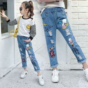 JEANS ANAK PEREMPUAN IMPORT RIPPED PRINT MOTIF